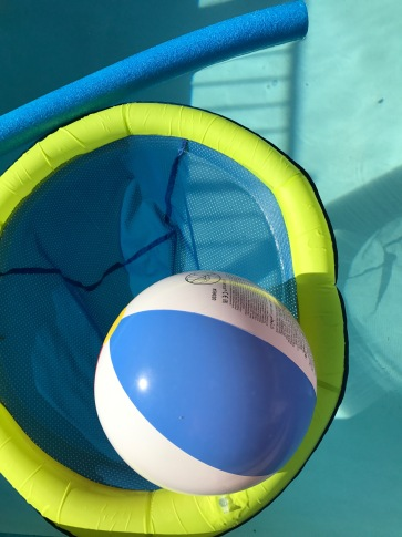 With Polarizer (Notice the reflections minimized on the ball and the highlights aren't as bright on the pool noodle)
