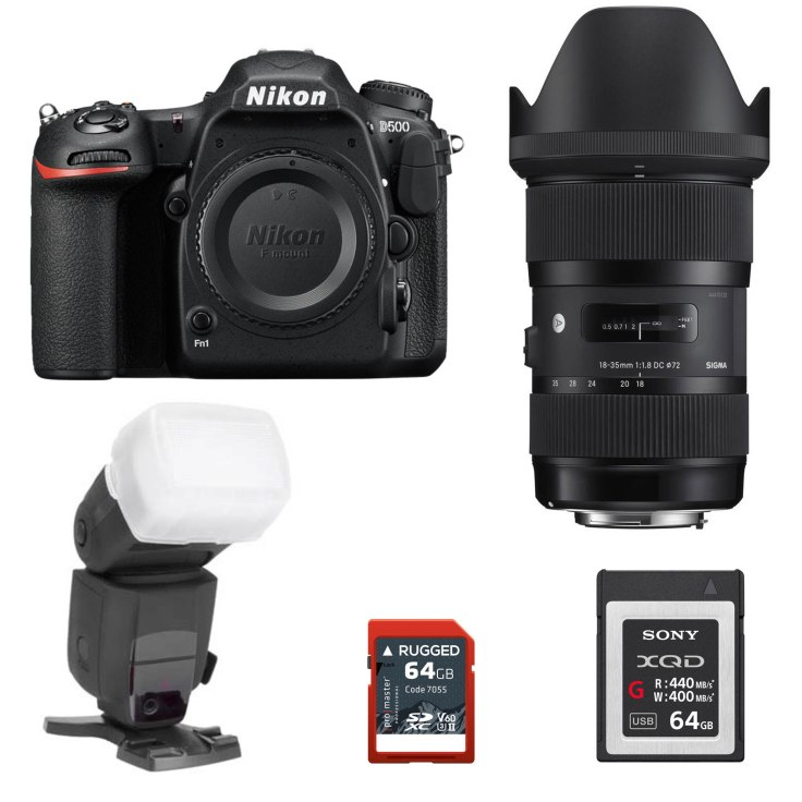 Nikon D500, Sigma 18-35mm f/1.8 Art, Promaster Rugged 64 GB SDHC Card, Sony 64GM XQD Card, Promaster 170SL Flash, Promaster Flash Diffuser for SB900